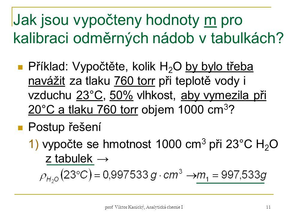 prof Viktor Kanický, Analytická chemie I 11 Jak jsou vypočteny hodnoty m pro kalibraci odměrných nádob v tabulkách? Příklad: Vypočtěte, kolik H 2 O by
