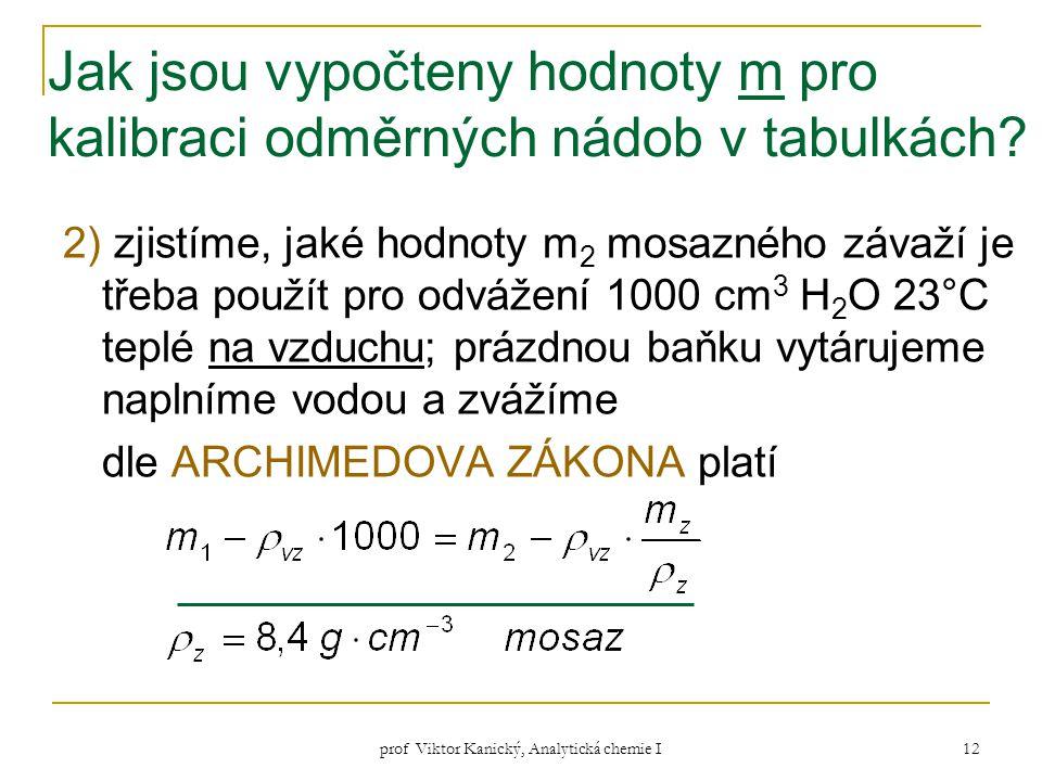 prof Viktor Kanický, Analytická chemie I 12 Jak jsou vypočteny hodnoty m pro kalibraci odměrných nádob v tabulkách? 2) zjistíme, jaké hodnoty m 2 mosa