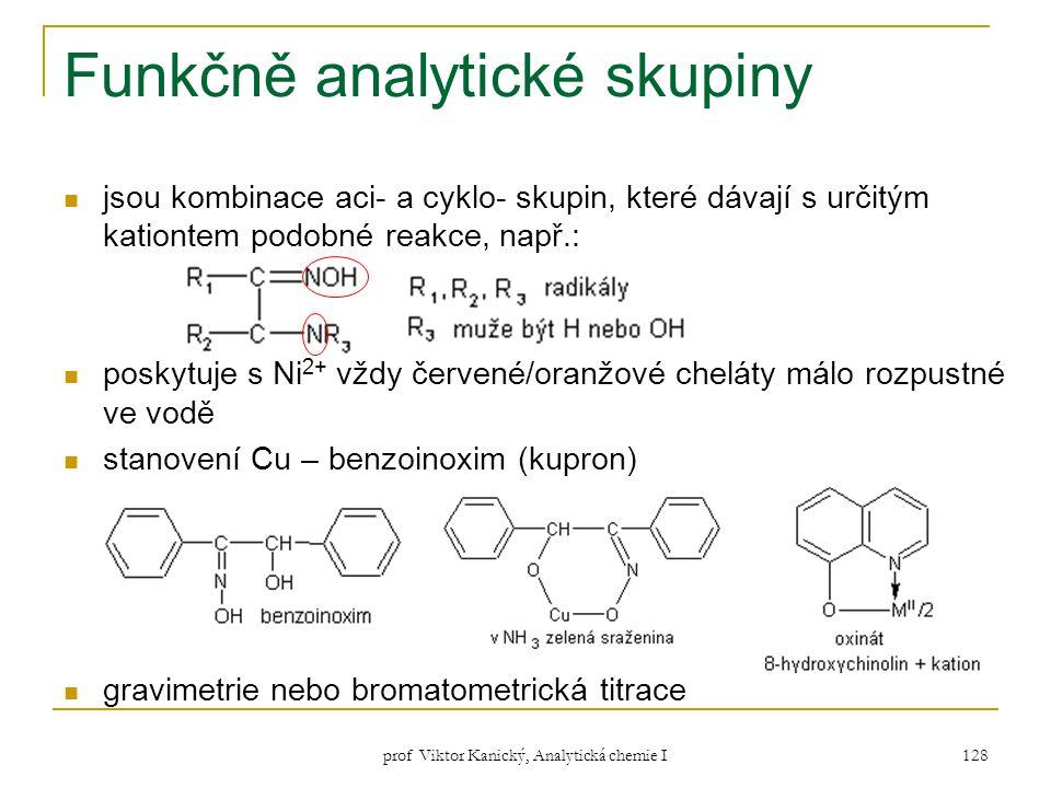 prof Viktor Kanický, Analytická chemie I 128 Funkčně analytické skupiny jsou kombinace aci- a cyklo- skupin, které dávají s určitým kationtem podobné