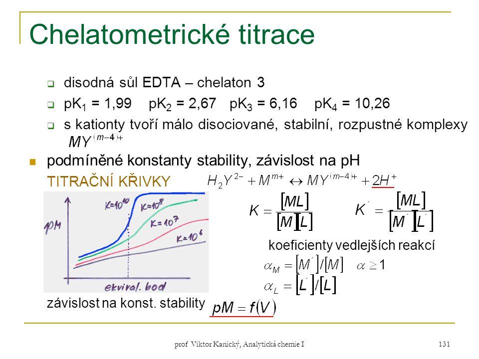prof Viktor Kanický, Analytická chemie I 131 Chelatometrické titrace  disodná sůl EDTA – chelaton 3  pK 1 = 1,99 pK 2 = 2,67 pK 3 = 6,16 pK 4 = 10,2