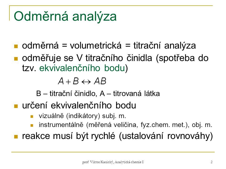 prof Viktor Kanický, Analytická chemie I 2 Odměrná analýza odměrná = volumetrická = titrační analýza odměřuje se V titračního činidla (spotřeba do tzv