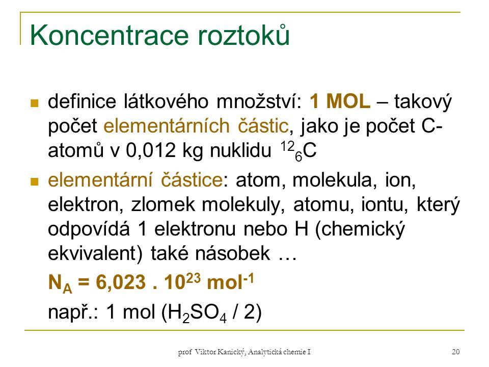 prof Viktor Kanický, Analytická chemie I 20 Koncentrace roztoků definice látkového množství: 1 MOL – takový počet elementárních částic, jako je počet