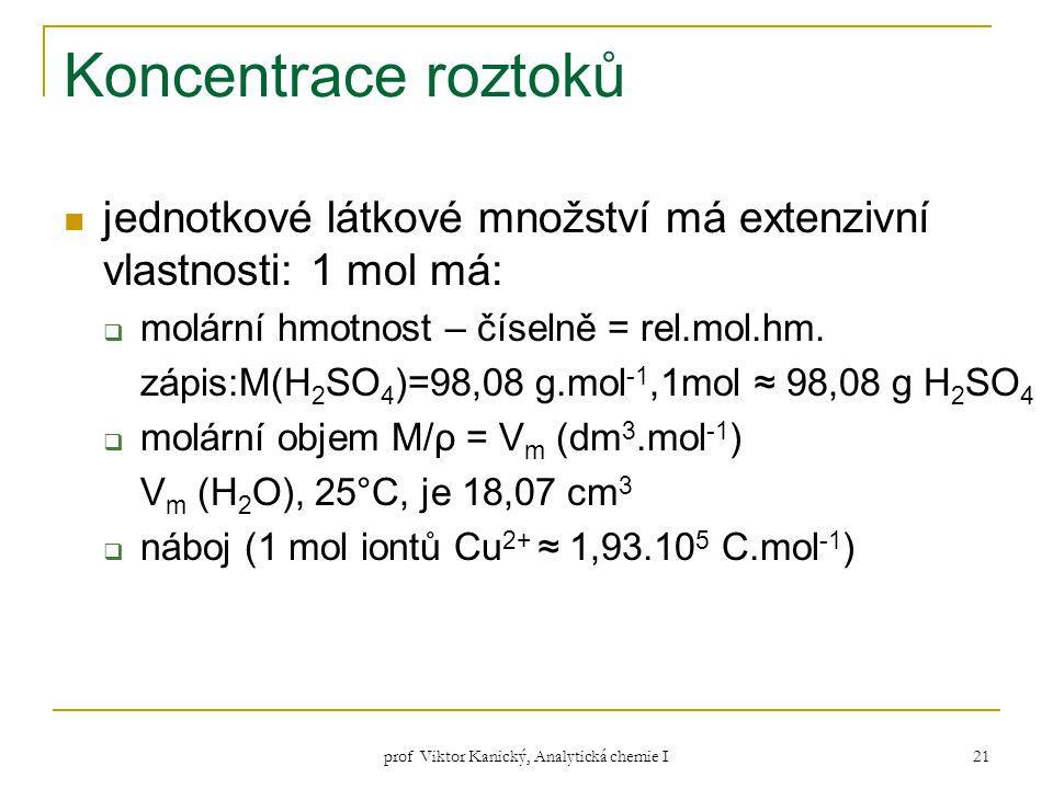 prof Viktor Kanický, Analytická chemie I 21 Koncentrace roztoků jednotkové látkové množství má extenzivní vlastnosti: 1 mol má:  molární hmotnost – č