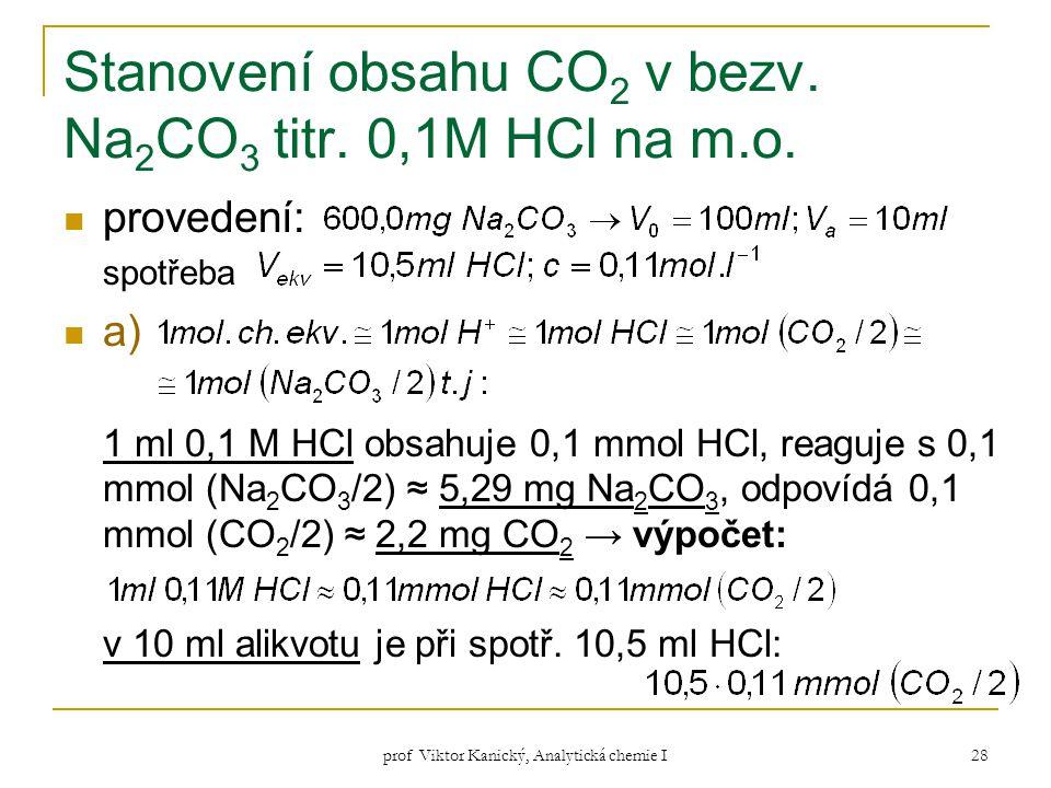 prof Viktor Kanický, Analytická chemie I 28 Stanovení obsahu CO 2 v bezv. Na 2 CO 3 titr. 0,1M HCl na m.o. provedení: spotřeba a) 1 ml 0,1 M HCl obsah