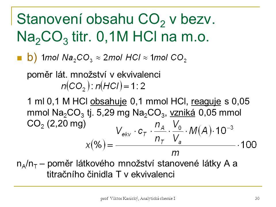 prof Viktor Kanický, Analytická chemie I 30 Stanovení obsahu CO 2 v bezv. Na 2 CO 3 titr. 0,1M HCl na m.o. b) poměr lát. množství v ekvivalenci 1 ml 0