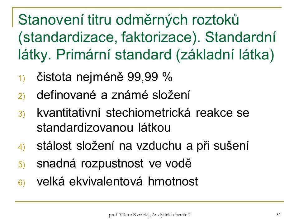 prof Viktor Kanický, Analytická chemie I 31 Stanovení titru odměrných roztoků (standardizace, faktorizace). Standardní látky. Primární standard (zákla