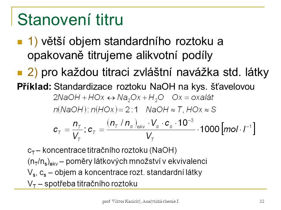 prof Viktor Kanický, Analytická chemie I 32 Stanovení titru 1) větší objem standardního roztoku a opakovaně titrujeme alikvotní podíly 2) pro každou t