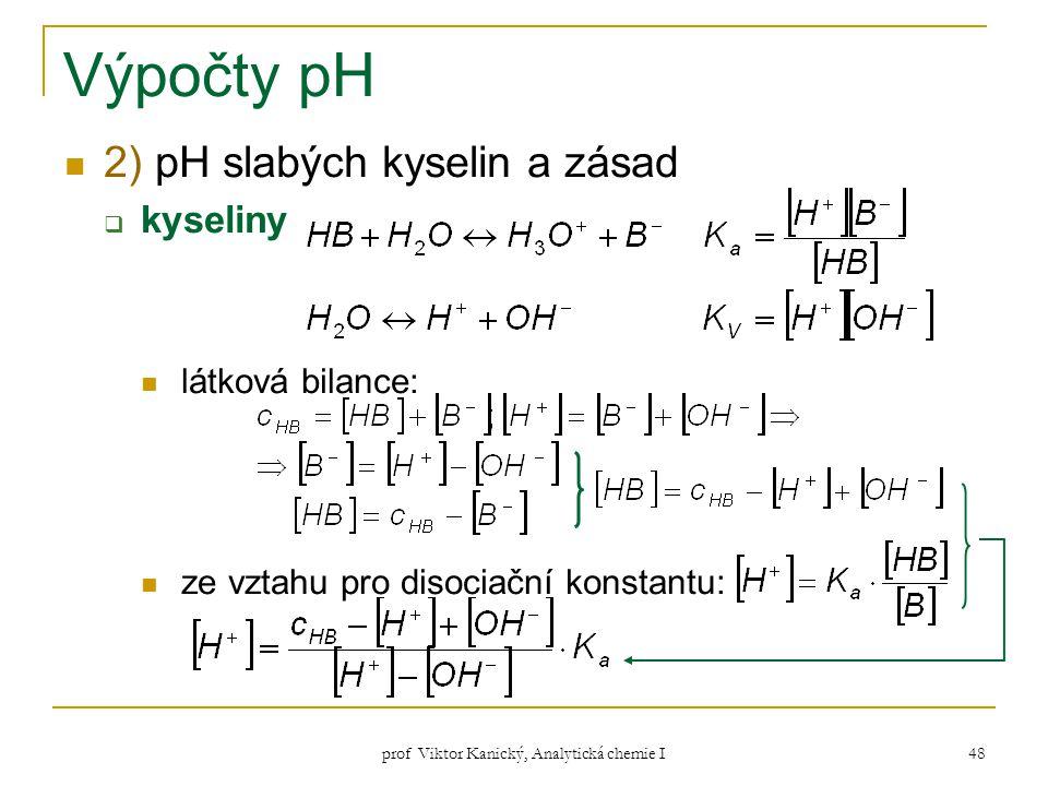 prof Viktor Kanický, Analytická chemie I 48 Výpočty pH 2) pH slabých kyselin a zásad  kyseliny látková bilance: ze vztahu pro disociační konstantu: