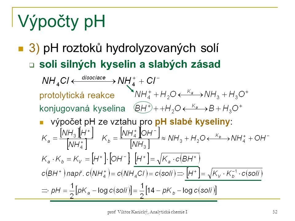 prof Viktor Kanický, Analytická chemie I 52 Výpočty pH 3) pH roztoků hydrolyzovaných solí  soli silných kyselin a slabých zásad protolytická reakce k