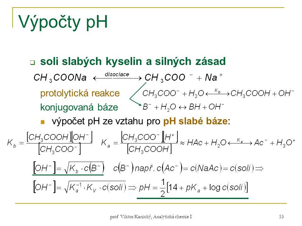 prof Viktor Kanický, Analytická chemie I 53 Výpočty pH  soli slabých kyselin a silných zásad protolytická reakce konjugovaná báze výpočet pH ze vztah