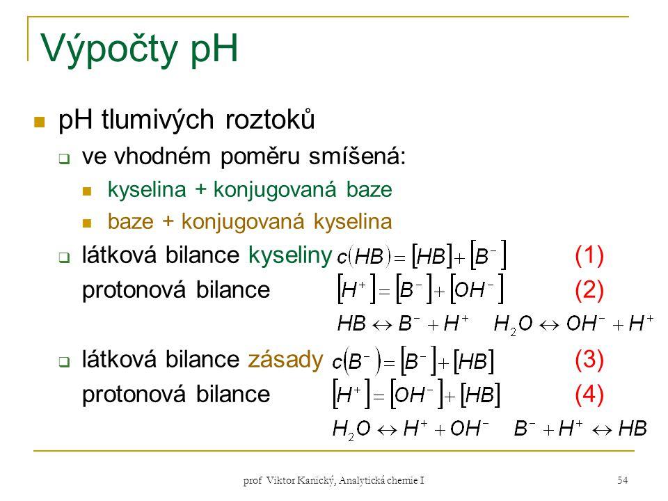 prof Viktor Kanický, Analytická chemie I 54 Výpočty pH pH tlumivých roztoků  ve vhodném poměru smíšená: kyselina + konjugovaná baze baze + konjugovan