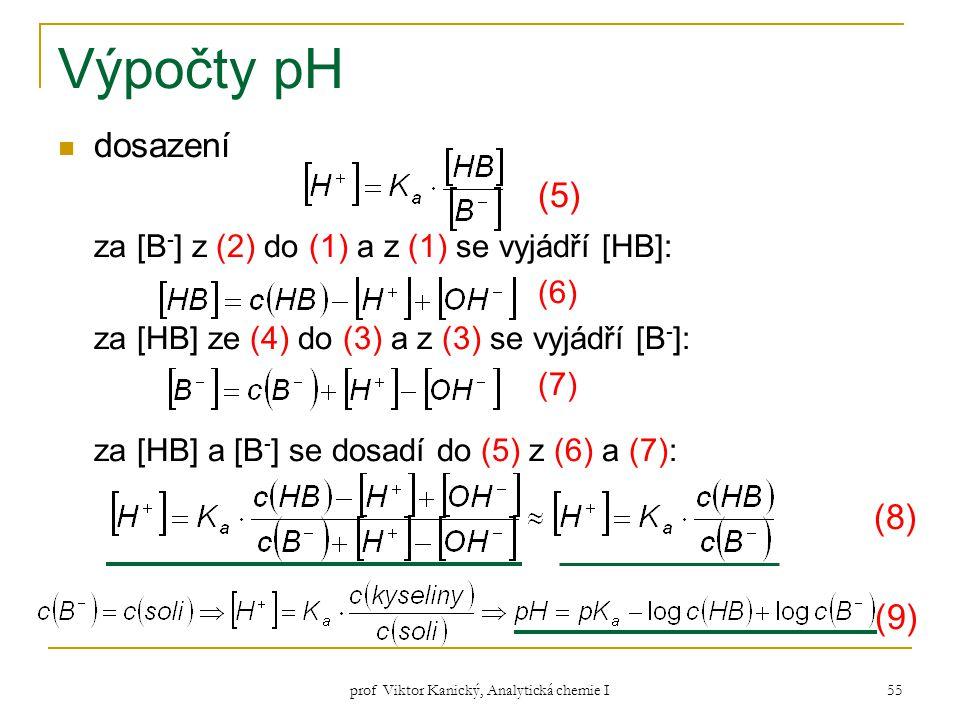 prof Viktor Kanický, Analytická chemie I 55 Výpočty pH dosazení (5) za [B - ] z (2) do (1) a z (1) se vyjádří [HB]: (6) za [HB] ze (4) do (3) a z (3)