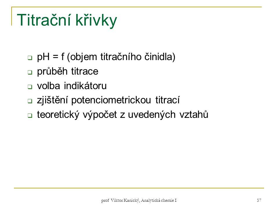prof Viktor Kanický, Analytická chemie I 57 Titrační křivky  pH = f (objem titračního činidla)  průběh titrace  volba indikátoru  zjištění potenci