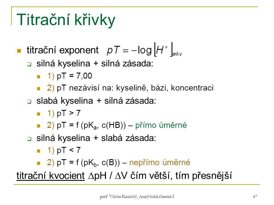 prof Viktor Kanický, Analytická chemie I 67 Titrační křivky titrační exponent  silná kyselina + silná zásada: 1) pT = 7,00 2) pT nezávisí na: kyselin