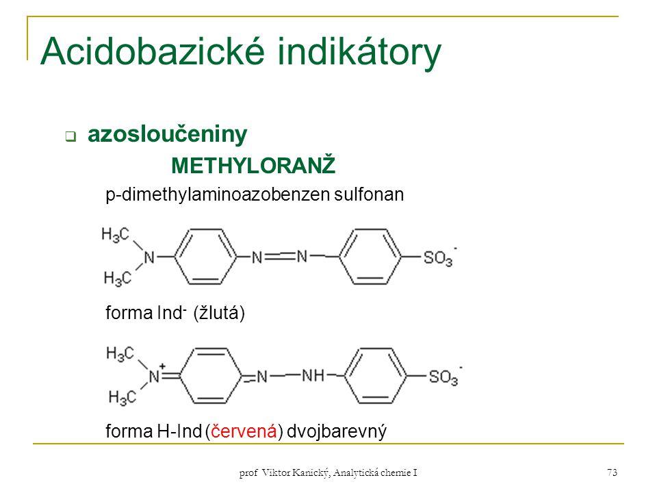 prof Viktor Kanický, Analytická chemie I 73 Acidobazické indikátory  azosloučeniny METHYLORANŽ p-dimethylaminoazobenzen sulfonan forma Ind - (žlutá)