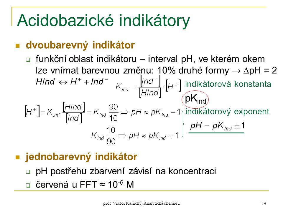 prof Viktor Kanický, Analytická chemie I 74 Acidobazické indikátory dvoubarevný indikátor  funkční oblast indikátoru – interval pH, ve kterém okem lz