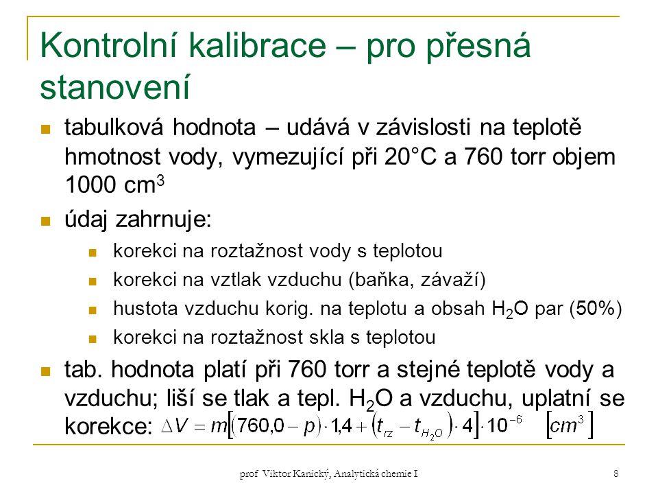 prof Viktor Kanický, Analytická chemie I 8 Kontrolní kalibrace – pro přesná stanovení tabulková hodnota – udává v závislosti na teplotě hmotnost vody,