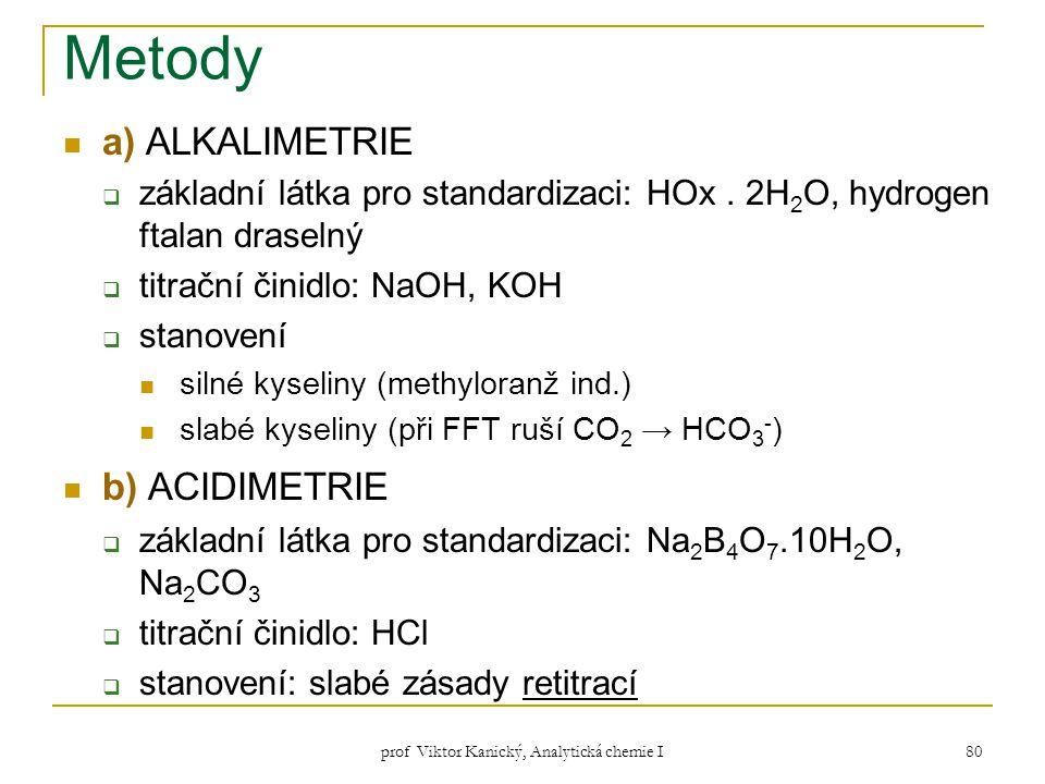 prof Viktor Kanický, Analytická chemie I 80 Metody a) ALKALIMETRIE  základní látka pro standardizaci: HOx. 2H 2 O, hydrogen ftalan draselný  titračn