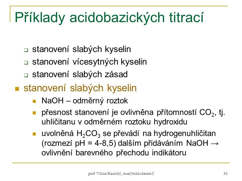 prof Viktor Kanický, Analytická chemie I 83 Příklady acidobazických titrací  stanovení slabých kyselin  stanovení vícesytných kyselin  stanovení sl