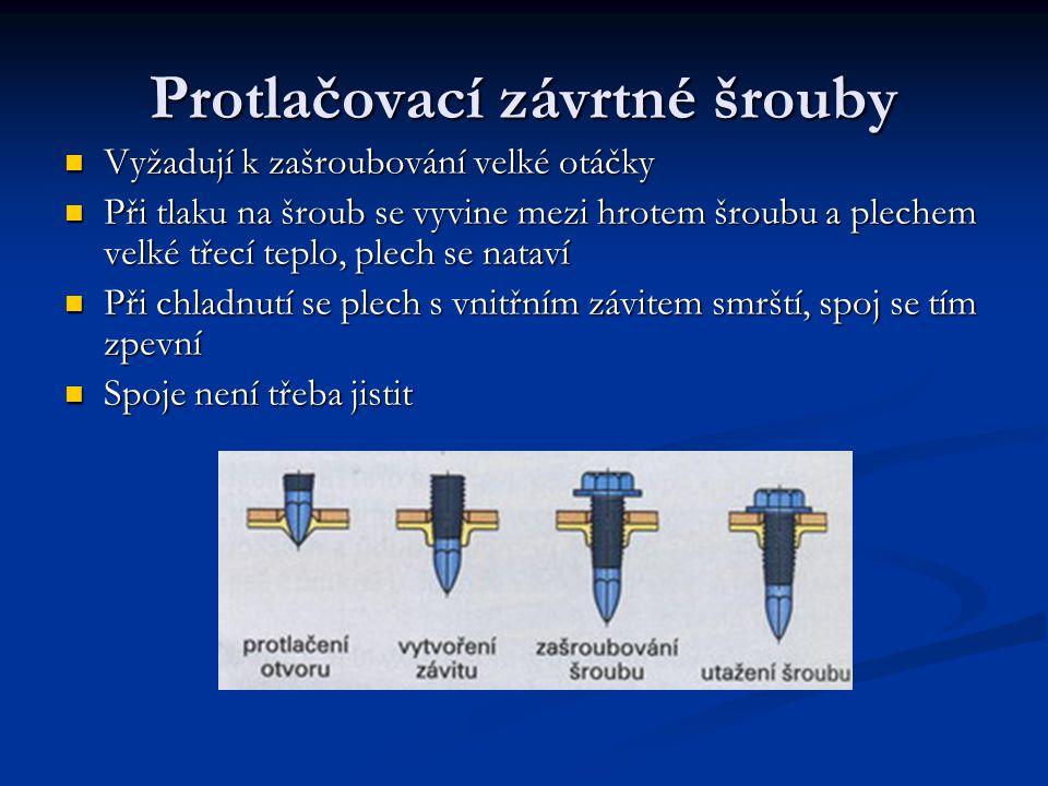 Protlačovací závrtné šrouby Vyžadují k zašroubování velké otáčky Při tlaku na šroub se vyvine mezi hrotem šroubu a plechem velké třecí teplo, plech se