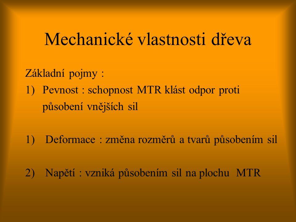 Mechanické vlastnosti dřeva Základní pojmy : 1)Pevnost : schopnost MTR klást odpor proti působení vnějších sil 1) Deformace : změna rozměrů a tvarů pů