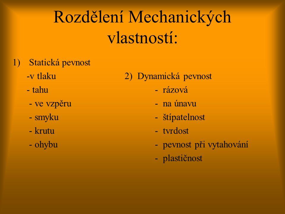 Rozdělení Mechanických vlastností: 1)Statická pevnost -v tlaku 2) Dynamická pevnost - tahu- rázová - ve vzpěru- na únavu - smyku- štípatelnost - krutu