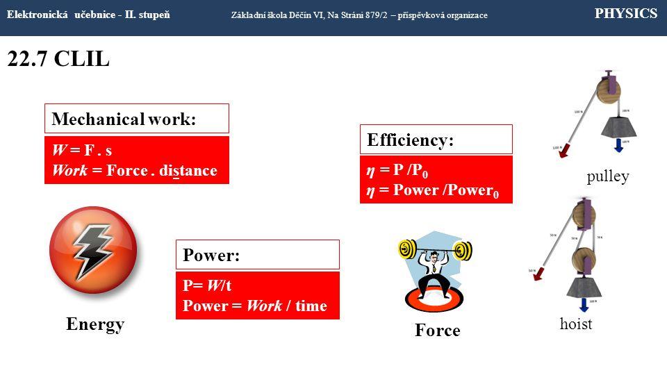 22.7 CLIL Elektronická učebnice - II. stupeň Základní škola Děčín VI, Na Stráni 879/2 – příspěvková organizace PHYSICS P= W/t Power = Work / time W =