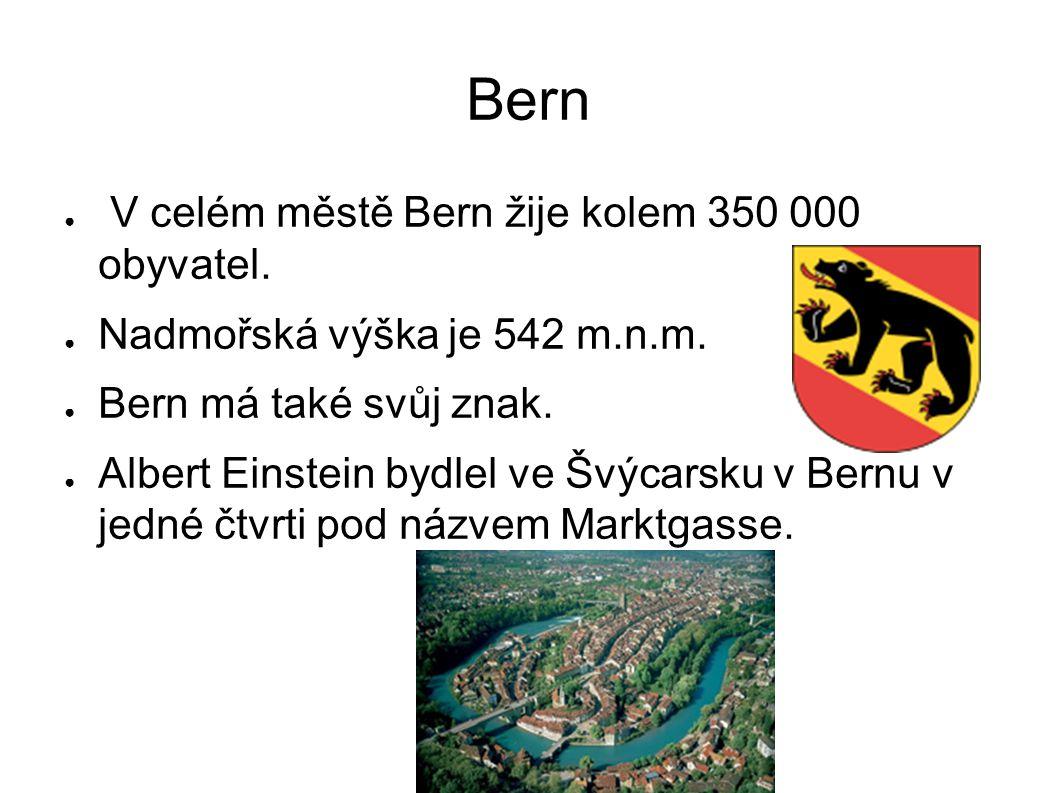 Bern ● V celém městě Bern žije kolem 350 000 obyvatel. ● Nadmořská výška je 542 m.n.m. ● Bern má také svůj znak. ● Albert Einstein bydlel ve Švýcarsku