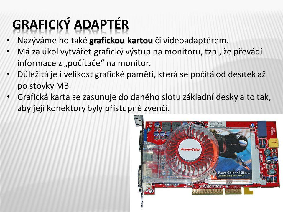 grafickou kartou Nazýváme ho také grafickou kartou či videoadaptérem.
