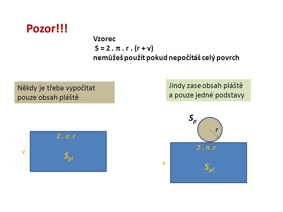 Pozor!!. Vzorec S = 2. π. r.