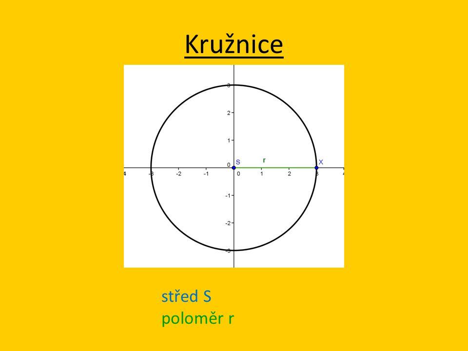 střed S poloměr r Kružnice