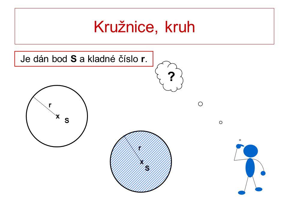 Kružnice, kruh Definice pomocí charakteristické vlastnosti svých bodů Je dán bod S a kladné číslo r.