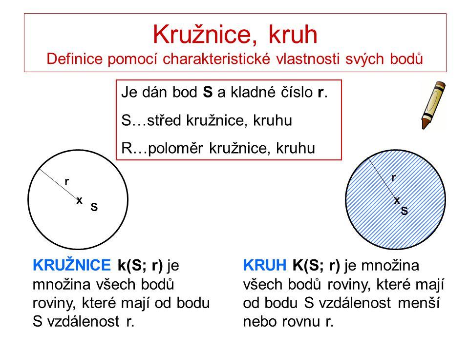 Kružnice, kruh KRUŽNICE k(S; r)KRUH K(S; r) Hranice kruhu…kružnice k(S; r) Vnitřní oblast (vnitřek) kružnice, kruhu – body, jejichž vzdálenost od středu S je menší než poloměr r.