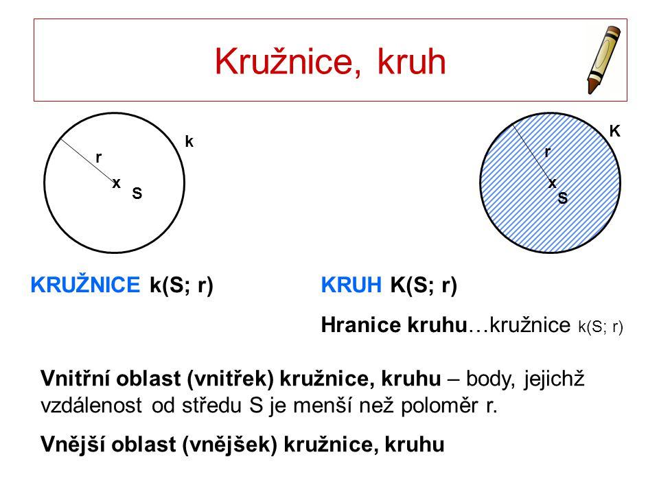 Vzájemná poloha dvou kružnic Žádný společný bod k 2 leží ve vnitřní oblasti k 1 IS 1 S 2 I < r 1 - r 2 S1S1 x k1k1 S2S2 x k2k2