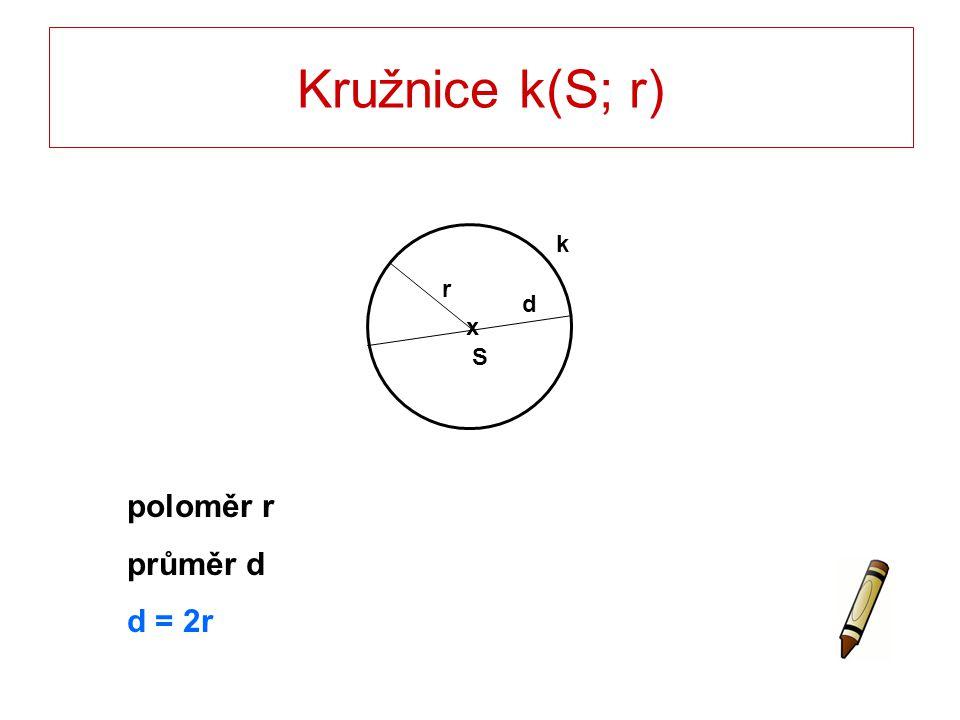 Kružnice k(S; r) Tětiva kružnice – úsečka AB – délka d.