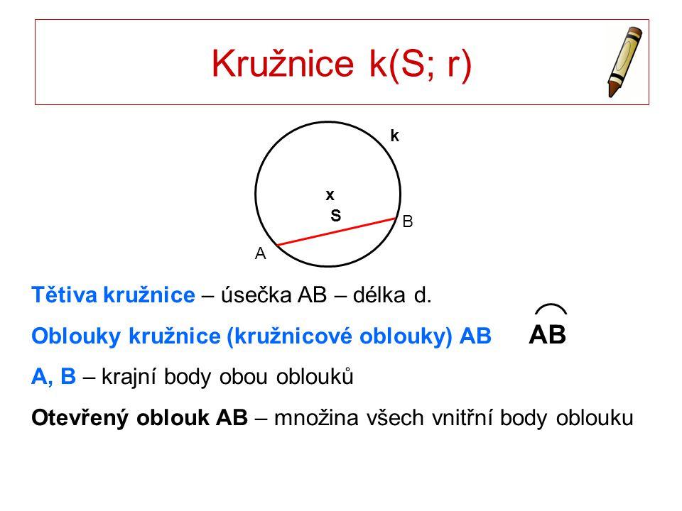 Oblouky kružnice k(S; r) AB není průměr Větší oblouk – oblouk leží v polorovině ABS Menší oblouk A B S x k S x k A B AB je průměr Oblouky – půlkružnice