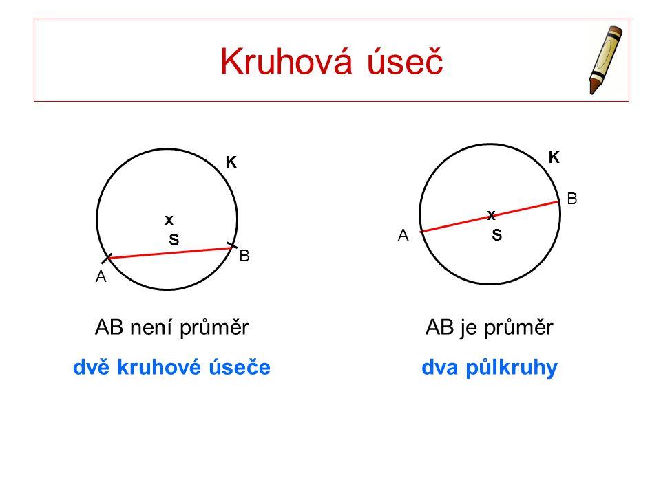 Kruhová výseč S x K A B Dva poloměry SA, SB rozdělují kruh na dvě kruhové výseče.