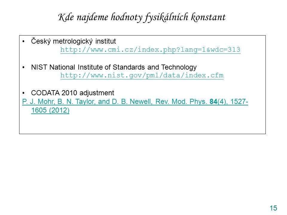 15 Kde najdeme hodnoty fysikálních konstant Český metrologický institut http://www.cmi.cz/index.php?lang=1&wdc=313 NIST National Institute of Standard