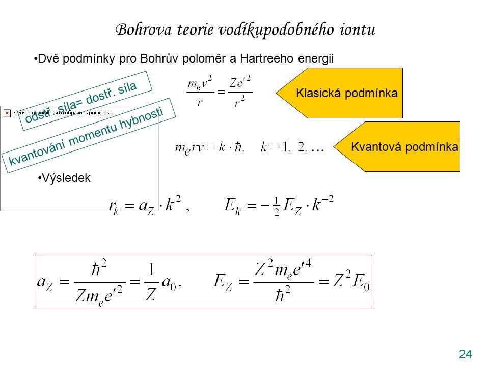 24 Bohrova teorie vodíkupodobného iontu Dvě podmínky pro Bohrův poloměr a Hartreeho energii odstř. síla= dostř. síla Klasická podmínka kvantování mome