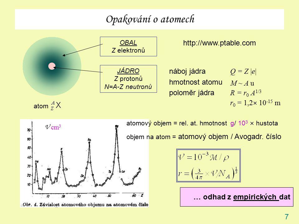 7 Opakování o atomech atom OBAL Z elektronů JÁDRO Z protonů N=A-Z neutronů náboj jádra hmotnost atomu poloměr jádra Q = Z |e| M ~ A u R = r 0 A 1/3 r