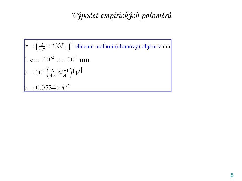 Výpočet empirických poloměrů 8