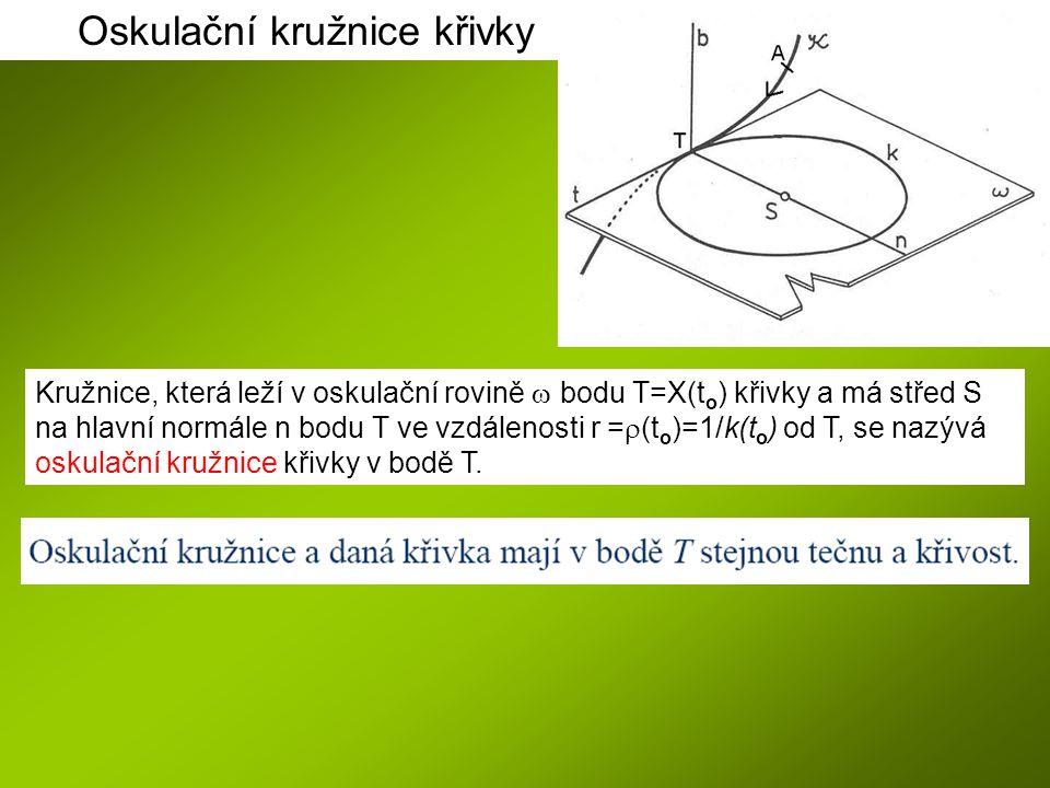 Kružnice, která leží v oskulační rovině  bodu T=X(t o ) křivky a má střed S na hlavní normále n bodu T ve vzdálenosti r =  (t o )=1/k(t o ) od T, se nazývá oskulační kružnice křivky v bodě T.