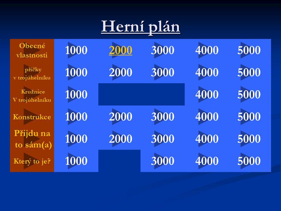 Herní plán Obecné vlastnosti 2000 50004000 5000 3000 1000 Konstrukce Kružnice V trojúhelníku 100040003000 2000 příčky v trojúhelníku 4000 100050004000