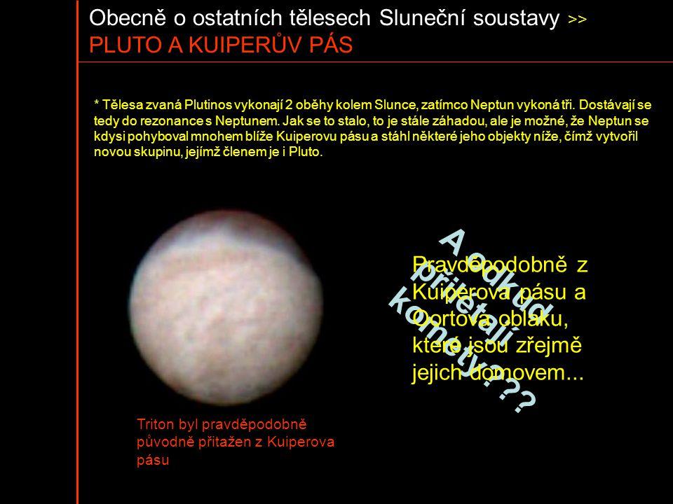 Obecně o ostatních tělesech Sluneční soustavy >> PLUTO A KUIPERŮV PÁS * Tělesa zvaná Plutinos vykonají 2 oběhy kolem Slunce, zatímco Neptun vykoná tři