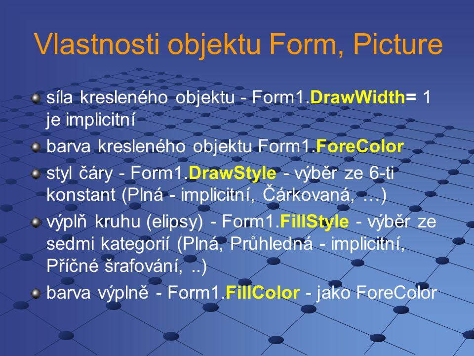 Vlastnosti objektu Form, Picture síla kresleného objektu - Form1.DrawWidth= 1 je implicitní barva kresleného objektu Form1.ForeColor styl čáry - Form1