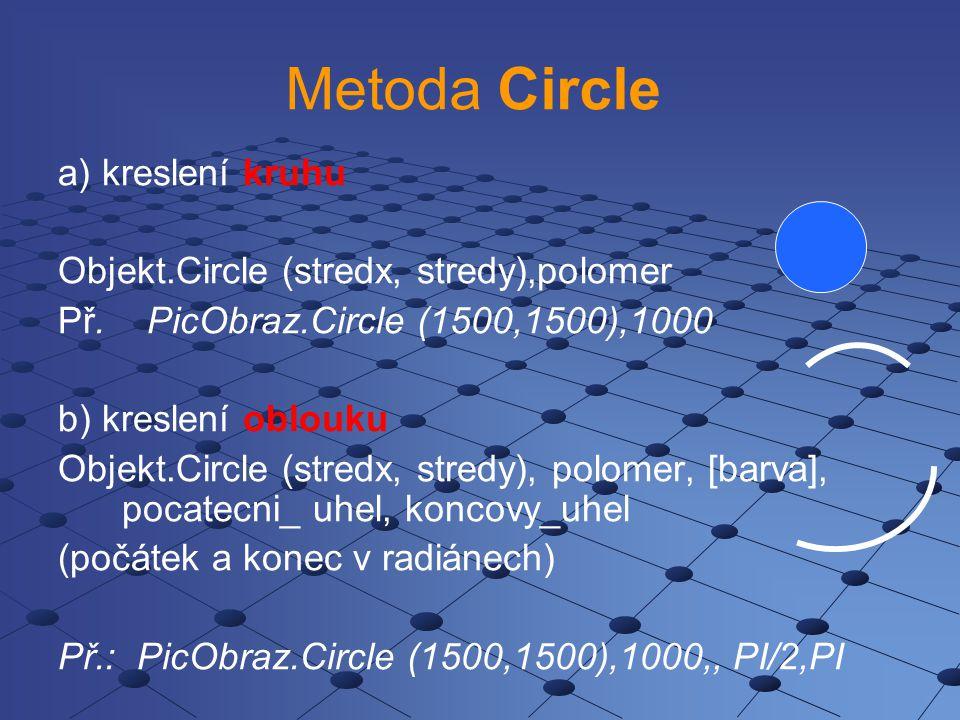 Metoda Circle a) kreslení kruhu Objekt.Circle (stredx, stredy),polomer Př. PicObraz.Circle (1500,1500),1000 b) kreslení oblouku Objekt.Circle (stredx,