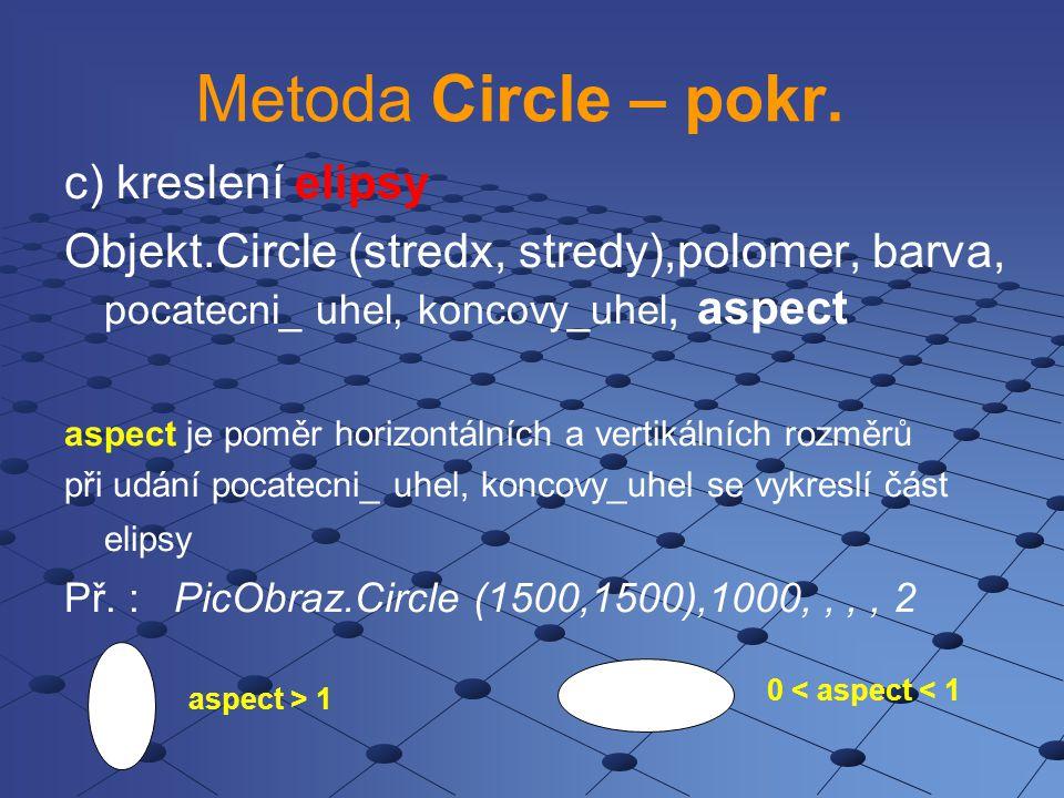 Metoda Circle – pokr. c) kreslení elipsy Objekt.Circle (stredx, stredy),polomer, barva, pocatecni_ uhel, koncovy_uhel, aspect aspect je poměr horizont