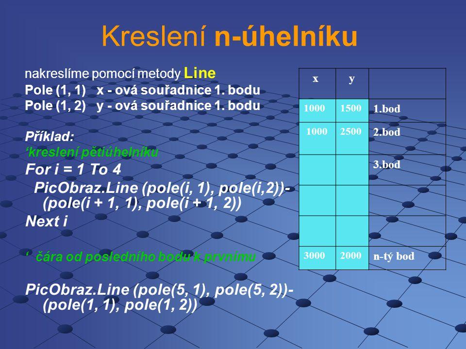 Vlastnosti objektu Form, Picture síla kresleného objektu - Form1.DrawWidth= 1 je implicitní barva kresleného objektu Form1.ForeColor styl čáry - Form1.DrawStyle - výběr ze 6-ti konstant (Plná - implicitní, Čárkovaná, …) výplň kruhu (elipsy) - Form1.FillStyle - výběr ze sedmi kategorií (Plná, Průhledná - implicitní, Příčné šrafování,..) barva výplně - Form1.FillColor - jako ForeColor