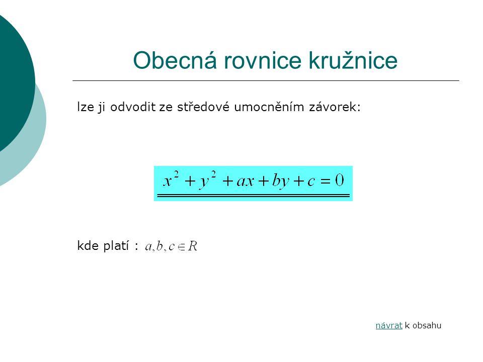 Obecná rovnice kružnice lze ji odvodit ze středové umocněním závorek: kde platí : návratnávrat k obsahu