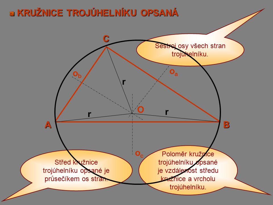KRUŽNICE TROJÚHELNÍKU OPSANÁ KRUŽNICE TROJÚHELNÍKU OPSANÁ A C B obob ococ oaoa O r r r Střed kružnice trojúhelníku opsané je průsečíkem os stran. Sest